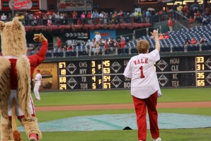 Sister Carol and the Griffin wave to CHC supporters during the 2014 CHC Night at the Phillies game.