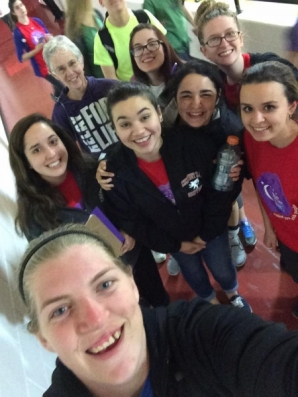The team stops for a quick selfie in the middle of their final lap of the Relay for Life