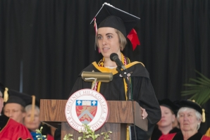 Leann Burke '16 gives the opening remarks at Commencement.