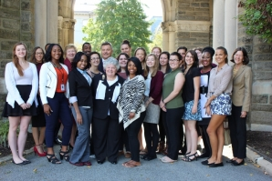 2015 recipients of the scholarship pose with W.W. Smith representatives and Sister Carol.
