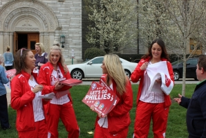 Phillies ball girls mix with students, staff and faculty during the visit.