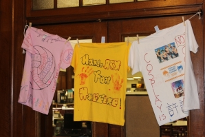 Athletics teams and clubs on campus took part in the Clothesline Project