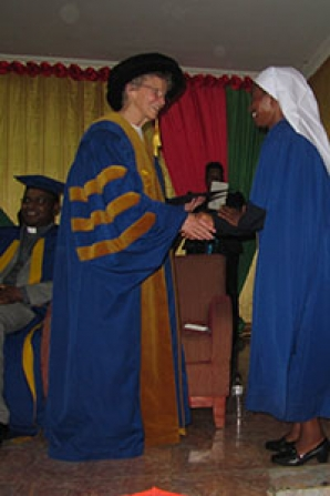 Sister Kathryn Miller spoke at two graduations in Malawi and Zambia during her December trip to Africa.