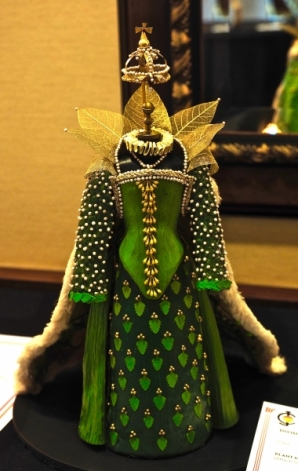 Made entirely of plant materials, this Barbie-sized green gown won a blue ribbon and Best of Show for creators Leslie Purple and Emilie Lapham.