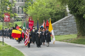 The processional opening the commencement ceremony is a special part of the day.