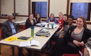 Professor Asmaron Legesse visits an IDHP class in March.