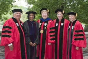 Recipients of honorary Doctor of Laws degrees post with Sister Carol.