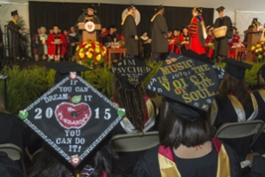 Decorated mortar boards during Commencement.