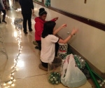 Students decorating hallway