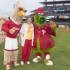 Sr Carol with Big Griff, CHC Mascot and the Phillie Phanatic